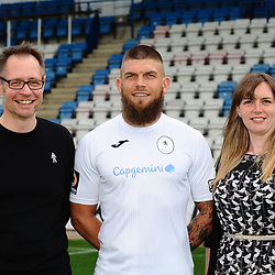 AFC Telford United pre-season photoshoot at the New Bucks Head Stadium on Thursday, August 1, 2019<br /> <br /> Shane Sutton with sponsors Richard Worton and Katie Peal<br /> <br /> Free for editorial use only<br /> Picture credit: Mike Sheridan/Ultrapress<br /> <br /> MS201920-004