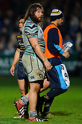 Leicester Prop (#3) Martin Castrogiovanni leaves the field after a yellow card during the first half of the match - Photo mandatory by-line: Rogan Thomson/JMP - Tel: Mobile: 07966 386802 04/01/2012 - SPORT - RUGBY - Sixways - Worcester. Worcester Warriors v Leicester Tigers - Aviva Premiership.