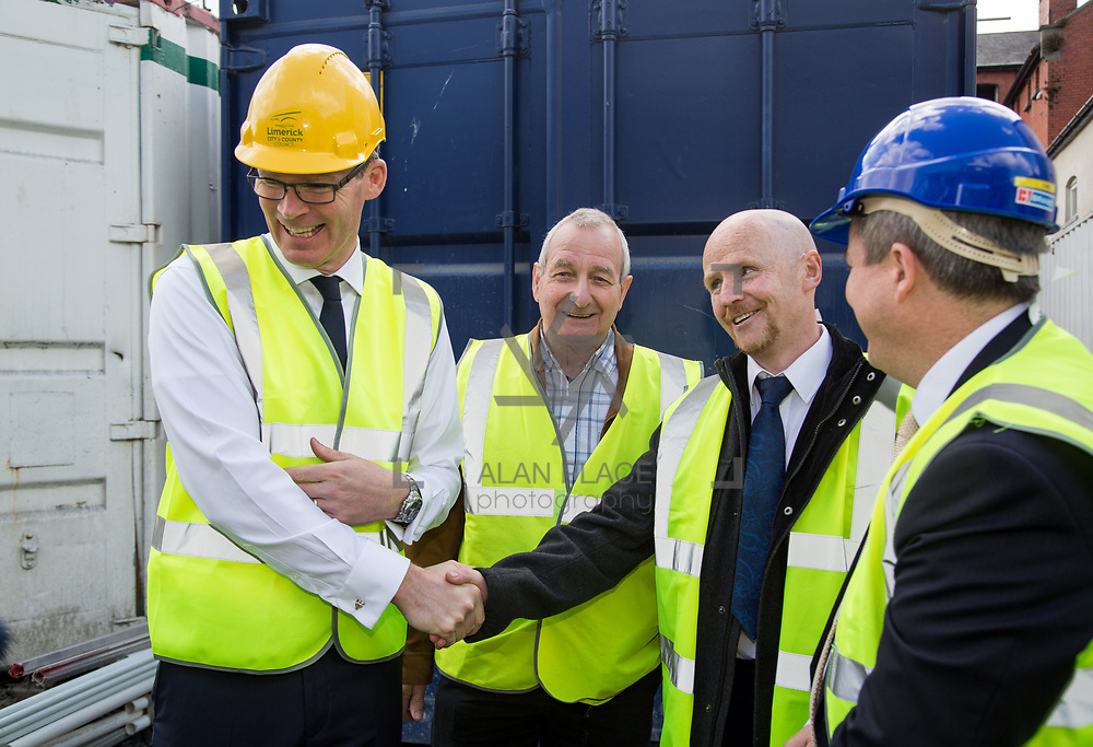 24.04.2017.       <br /> Minister for Housing Simon Coveney visiting the Lord Edward Street site in Limerick, where 81 units for social housing are nearing completion as part of the Limerick Regeneration programme.  57 of which are elderly units (1 and 2 bed apts and 2 bed houses) with the remainder (24) being family homes (3 bed). <br /> <br /> Pictured at the event were, Minister for Housing Simon Coveney, Fisherman Quay residents, Andy Mowat and Alan McCarthy with Senator Kieran O'Donnell. Picture: Alan Place.