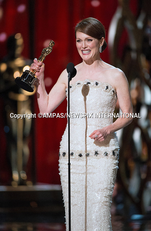 22.02.2015; Hollywood, California: 87TH OSCARS - JULIANNE MOORE<br /> <br /> Annual Academy Awards Telecast, Dolby Theatre, Hollywood.<br /> Mandatory Photo Credit: NEWSPIX INTERNATIONAL<br /> <br />               **ALL FEES PAYABLE TO: &quot;NEWSPIX INTERNATIONAL&quot;**<br /> <br /> PHOTO CREDIT MANDATORY!!: NEWSPIX INTERNATIONAL(Failure to credit will incur a surcharge of 100% of reproduction fees)<br /> <br /> IMMEDIATE CONFIRMATION OF USAGE REQUIRED:<br /> Newspix International, 31 Chinnery Hill, Bishop's Stortford, ENGLAND CM23 3PS<br /> Tel:+441279 324672  ; Fax: +441279656877<br /> Mobile:  0777568 1153<br /> e-mail: info@newspixinternational.co.uk