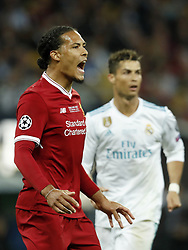 (L-R) Virgil van Dijk of Liverpool FC, Cristiano Ronaldo of Real Madrid during the UEFA Champions League final between Real Madrid and Liverpool on May 26, 2018 at NSC Olimpiyskiy Stadium in Kyiv, Ukraine