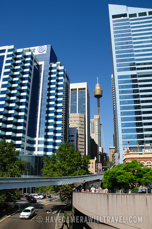 Buildings of Sydney's Central Business District with the Centrepoint Tower in the center