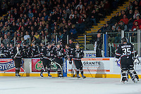 KELOWNA, CANADA -FEBRUARY 5: The Red Deer Rebels celebrate their first goal of the game against the Kelowna Rockets during the third period on February 5, 2014 at Prospera Place in Kelowna, British Columbia, Canada.   (Photo by Marissa Baecker/Getty Images)  *** Local Caption ***