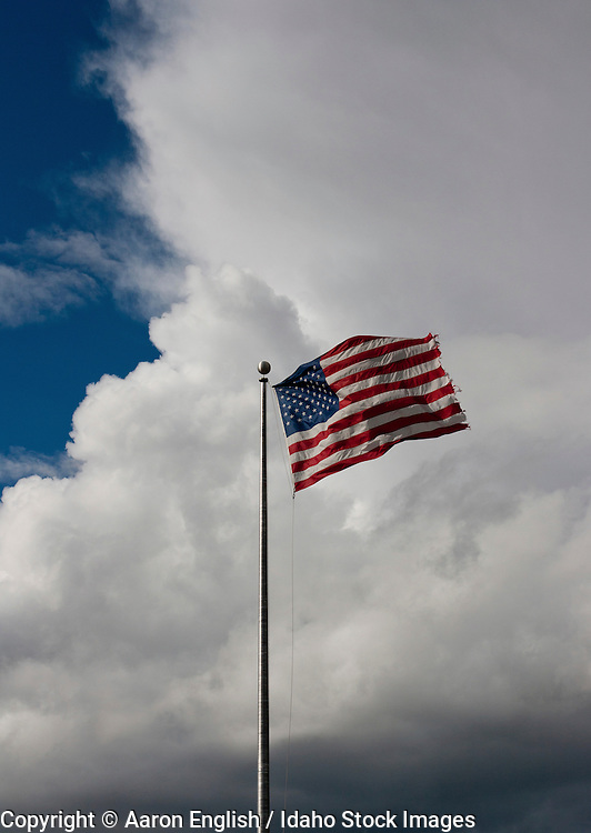 American flag stands strong in the wind as an approaching storm moves in, Boise, Idaho