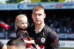Jordy de Wijs of Excelsior with daughter during the Dutch Eredivisie match between sbv Excelsior Rotterdam and Ajax Amsterdam at Van Donge & De Roo stadium on May 06, 2018 in Rotterdam, The Netherlands