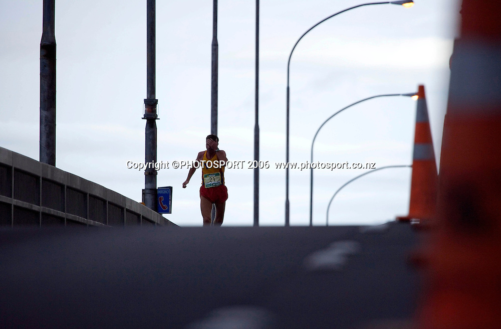 Richard Were (21) winner of the 50-54 age group alone at the top of the Auckland Harbour Bridge.