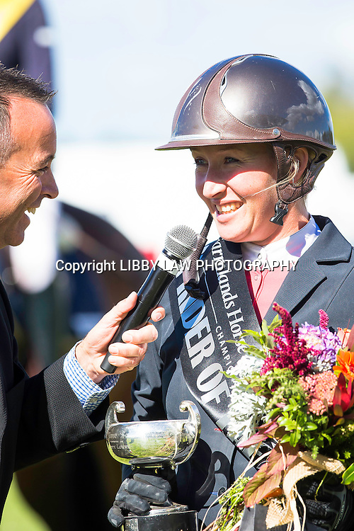 NZL-Lisa Cubitt (BATES AMARETTO MVNZ) TITLE WINNER: 1ST-ULTRA-MOX LADY RIDER OF THE YEAR: 2015 NZL-Farmlands Horse Of The Year Show, Hastings (Thursday 19 March) CREDIT: Libby Law CREDIT: LIBBY LAW PHOTOGRAPHY