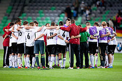 Team Germany celebrate victory during the UEFA European Under-17 Championship Group A match between Germany and France on May 10, 2012 in SRC Stozice, Ljubljana, Slovenia. Germany defeated France 3:0. (Photo by Matic Klansek Velej / Sportida.com)