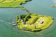 Nederland, Noord-Holland, Amsterdam, 13-06-2017; Buiten-IJ met Polder IJdoorn, Vuurtoreneiland met Kustbatterij (Fort Durgerdam, onderdeel van de Stelling van Amsterdam). Rijksmonument, onderdeel van de Werelderfgoedlijst van Unesco.<br /> Lighthouse Island with coastal Battery, part of the Defence Line of Amsterdam. Unesco World Heritage.<br /> luchtfoto (toeslag op standaard tarieven);<br /> aerial photo (additional fee required);<br /> copyright foto/photo Siebe Swart