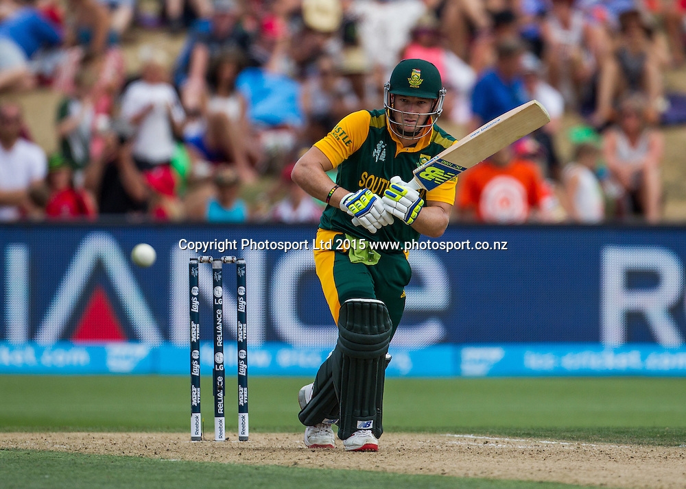 South Africa's David Miller batting during the ICC Cricket World Cup match - South Africa v Zimbabwe at Seddon Park, Hamilton, New Zealand on Sunday 15 February 2015.  Photo:  Bruce Lim / www.photosport.co.nz