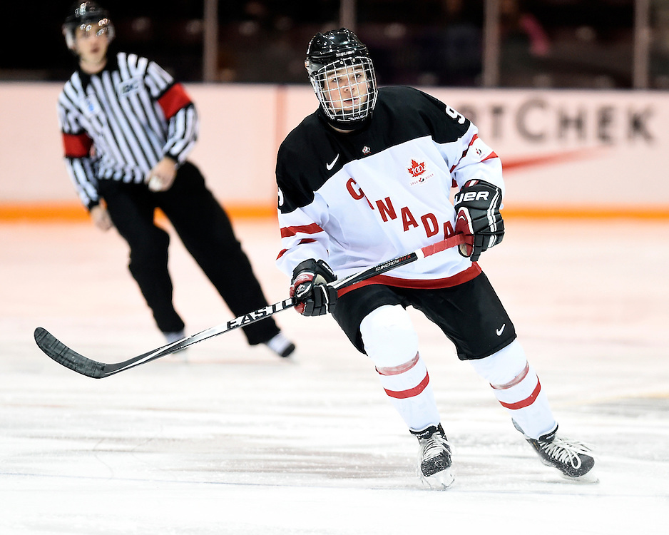 Gabriel Bilodeau of the Val-d'Or Foreurs represented Team Canada White in the 2014 World Under-17 Hockey Challenge in Sarnia and Lambton, ON November 2-8, 2014. Photo by Aaron Bell/CHL Images