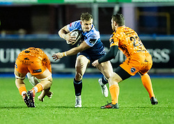 Hallam Amos of Cardiff Blues under pressure from Adam Warren of Dragons<br /> <br /> Photographer Simon King/Replay Images<br /> <br /> Guinness PRO14 Round 9 - Cardiff Blues v Dragons - Thursday 26th December 2019 - Cardiff Arms Park - Cardiff<br /> <br /> World Copyright © Replay Images . All rights reserved. info@replayimages.co.uk - http://replayimages.co.uk