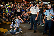 Protester arrested by the police as he refuses to move out of Argyle road<br /> <br /> Violent clashes in Mong Kok, Protesters form new blockades after a night of chaotic clashes with police<br /> <br /> 20th day of pro-democracy protest in Hong Kong