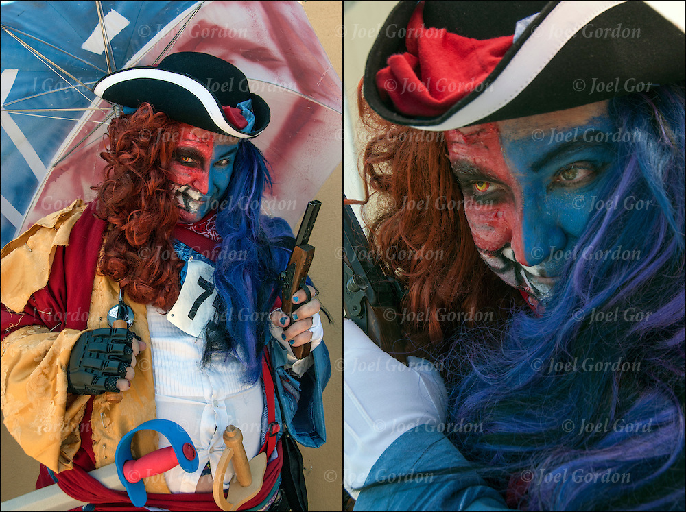 23rd Mermaid Parade, two colorful portraits of Pirate wearing  costume and face paint before the start of the parade in Coney Island.