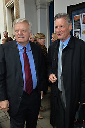 Journalist and television presenter Alan Whicker's memorial service at Grosvenor Chapel, Mayfair, London, UK.<br /> <br /> Pictured are Michael Grade and Michael Palin.<br /> <br /> Wednesday, 28th May 2014. Picture by Ben Stevens / i-Images