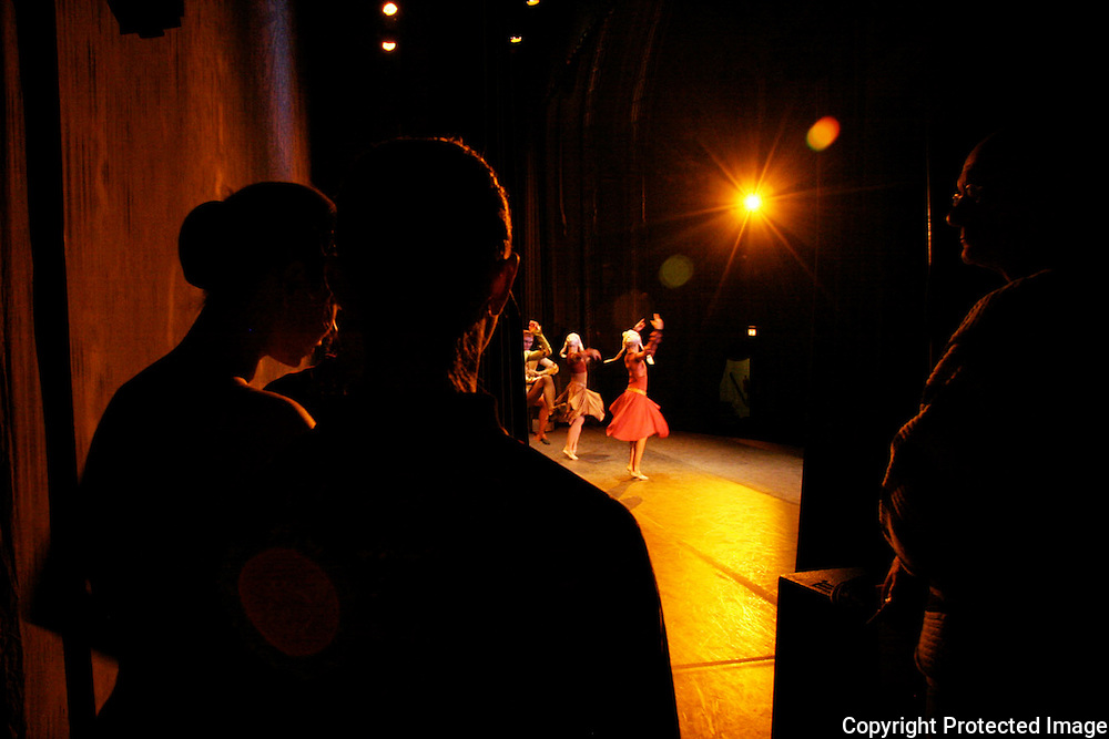 Dancers from Russia's St. Petersburg Ballet company wait to go onstage at a performance in Newark's Midland Theater.