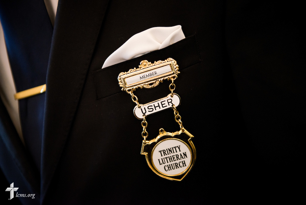 An usher's lapel pin is pictured during worship at Trinity Lutheran Church Sunday, April 6, 2014, in Mobile, Ala. LCMS Communications/Erik M. Lunsford