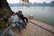 Hoan Kiem Lake. Morning sports. Gymnastics.