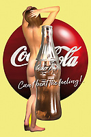 A Coca-Cola logo, a classic Coke bottle, and the site of a naked woman are all part of this fascinating example of pop art. Whether you are a fan of Coke or vintage Coke ads, or if you just like the combination of all of these fascinating elements, this is a piece that can express a great deal. It has the ability to exist in just about any space you can imagine. It invites the viewer to think about the role we play in the media that surrounds us. What happens when we bring the natural human form together with something created by the hands of those very humans?