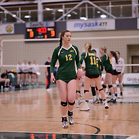 1st year outside hitter Jessica Lerminiaux (12) of the Regina Cougars in action during Women's Volleyball home game on February 3 at Centre for Kinesiology, Health and Sport. Credit: Arthur Ward/Arthur Images