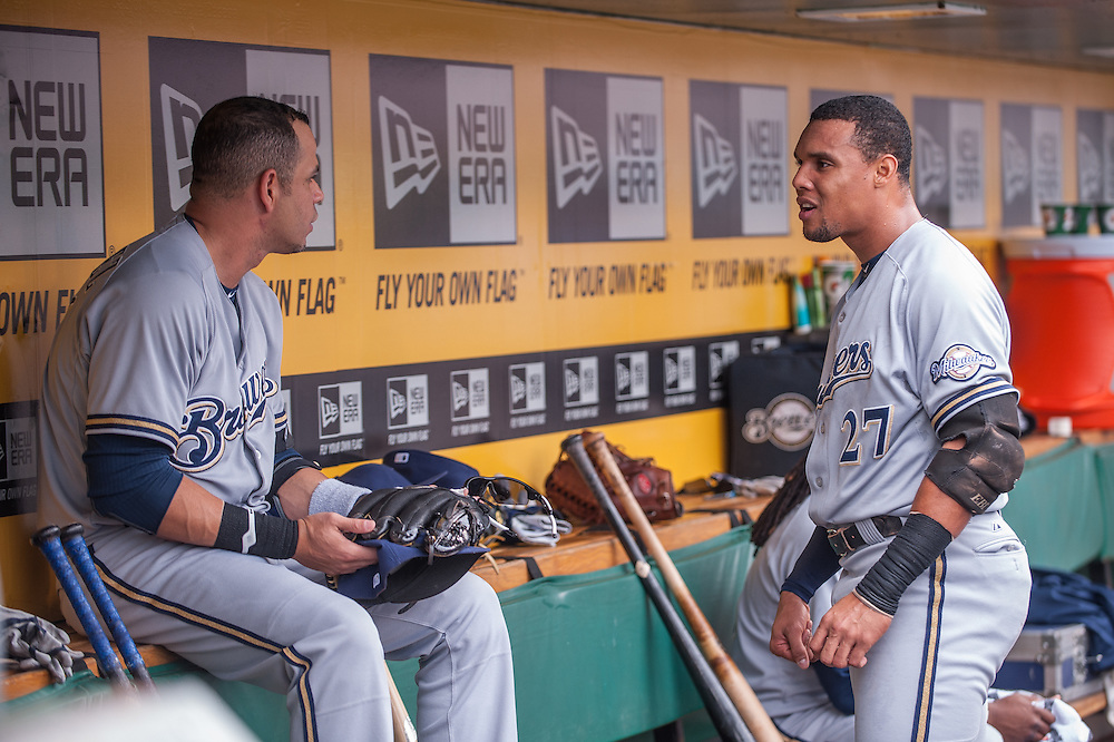 PITTSBURGH, PA - JUNE 08: Carlos Gomez #27  of the Milwaukee Brewers chats with Aramis Ramirez #16  in the dugout during the game against the Pittsburgh Pirates  at PNC Park on June 8, 2014 in Pittsburgh, Pennsylvania. (Photo by Rob Tringali) *** Local Caption *** Carlos Gomez;Aramis Ramirez
