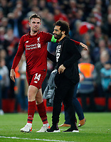 Football - 2018 / 2019 UEFA Champions League - Semi-Final, Second Leg: Liverpool (0) vs. Barcelona (3)<br /> <br /> Jordan Henderson of Liverpool and Mohamed Salah of Liverpool celebrates winning the match at Anfield.<br /> <br /> COLORSPORT/LYNNE CAMERON
