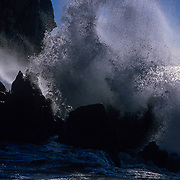 Wave crashing on rocks. Cabo San Lucas. BCS, Mexico.