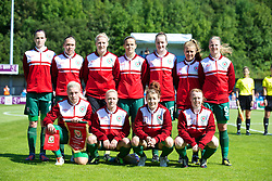 HAVERFORDWEST, WALES - Sunday, August 25, 2013: Wales players line up for a team group photograph before the Group A match against France of the UEFA Women's Under-19 Championship Wales 2013 tournament at the Bridge Meadow Stadium. Back row L-R: Alys Hinchcliffe, Rhian Cleverly, goalkeeper Alice Evans, Amy Thrupp, Samantha Quayle, Amy Wathan, Hannah Keryakoplis. Front row L-R: captain Lauren Price, Lauren Hancock, Angharad James, Rachel Hignett. (Pic by David Rawcliffe/Propaganda)