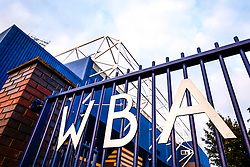 A West Bromwich Albion sign on the gates outside the ground - Photo mandatory by-line: Rogan Thomson/JMP - 07966 386802 - 26/08/2014 - SPORT - FOOTBALL - The Hawthorns, West Bromwich - West Bromwich Albion v Oxford United - Capital One Cup Round 2.