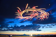 Dan Buhanan releasing fireworks from his ultralight at the Airshow of the Cascades.