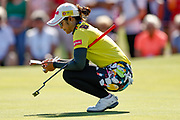 Pornanong Phatlum checks the green during the Final day of the Ricoh Women's British Open golf tournament at Royal Lytham and St Annes Golf Club, Lytham Saint Annes, United Kingdom on 5 August 2018. Picture by Simon Davies.