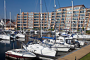 Yachts and power boats moored at Port Solent marina, near Portsmouth, South Coast of England, UK