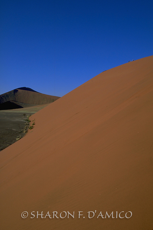 Dunes of Sossusvlei, Namibia, Side View with People Standing Atop Dune
