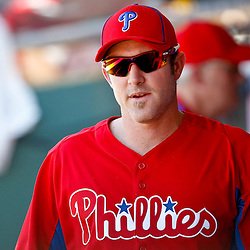 March 25, 2012; Clearwater, FL, USA; Philadelphia Phillies second baseman Chase Utley (26) in the dugout during the top of the third inning of a spring training game against the Baltimore Orioles at Bright House Networks Field. Mandatory Credit: Derick E. Hingle-US PRESSWIRE