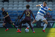 Queens Park Rangers forward Tomer Hemed (16) battles for possession with Swansea City midfielder Nathan Dyer (12) during the EFL Sky Bet Championship match between Queens Park Rangers and Swansea City at the Loftus Road Stadium, London, England on 13 April 2019.