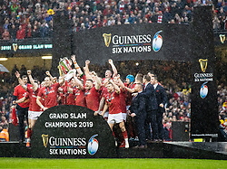 Wales Six Nations Champions 2019<br /> <br /> Photographer Simon King/Replay Images<br /> <br /> Six Nations Round 5 - Wales v Ireland - Saturday 16th March 2019 - Principality Stadium - Cardiff<br /> <br /> World Copyright © Replay Images . All rights reserved. info@replayimages.co.uk - http://replayimages.co.uk