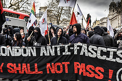 Anti-fascists demonstrating at a Pegida (Patriotic Europeans Against the Islamisation of the West) rally in Whitehall, London Feb 2016