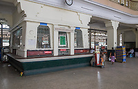 YANGON, MYANMAR - CIRCA DECEMBER 2013: Ticket counter at the Yangon Central Railway Station