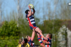 Kate Newton of Bristol Ladies catches the ball from a line out - Mandatory by-line: Dougie Allward/JMP - 26/03/2017 - RUGBY - Cleve RFC - Bristol, England - Bristol Ladies v Wasps Ladies - RFU Women's Premiership
