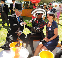 PHILIP TREACY, GRACE JONES and SUZI PERRY at the second day of the 2010 Royal Ascot Racing festival at Ascot Racecourse, Berkshire on 16th June 2010.