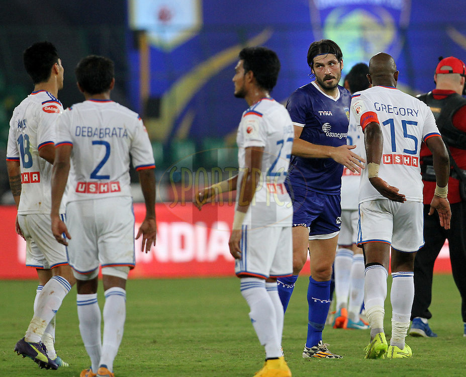 Chennaiyin FC and FC Goa players shake hands after the match 50 of the Hero Indian Super League between Chennaiyin FC and FC Goa held at the Jawaharlal Nehru Stadium, Chennai, India on the 5th December 2014.<br /> <br /> Photo by:  Vipin Pawar/ ISL/ SPORTZPICS