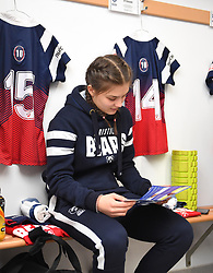 Merryn Doidge of Bristol Bears Women takes a look at the match day programme ahead of the game - Mandatory by-line: Paul Knight/JMP - 01/12/2018 - RUGBY - Shaftesbury Park - Bristol, England - Bristol Bears Women v Harlequins Ladies - Tyrrells Premier 15s