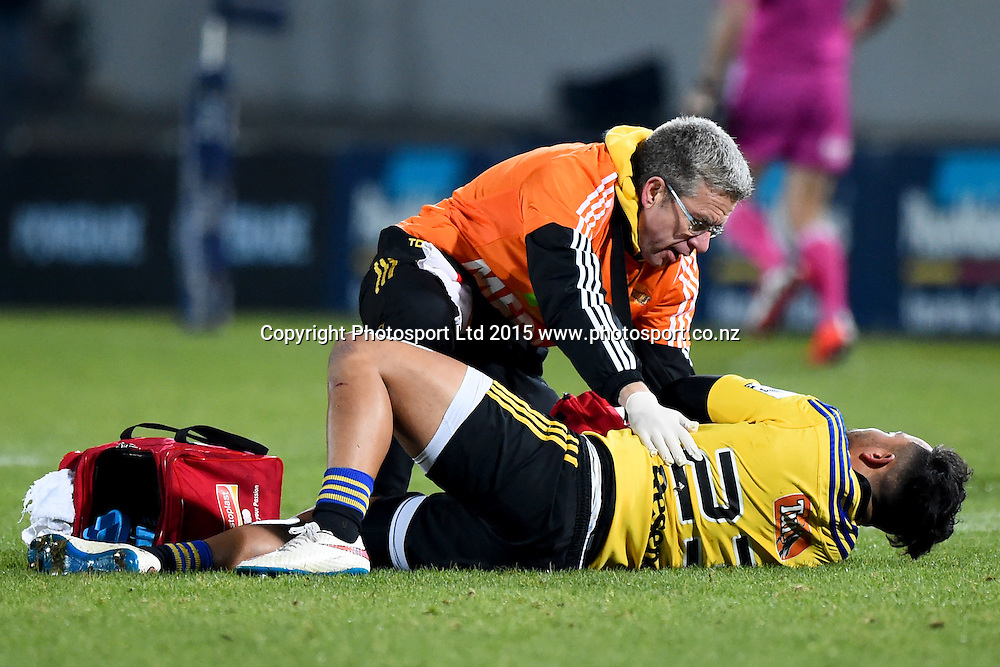 Hurricanes player Matt Proctor lays injured during their Investec Super Rugby game Crusaders v Hurricanes. Trafalgar Park, Nelson, New Zealand. Friday 29 May 2015. Copyright Photo: Chris Symes / www.photosport.co.nz
