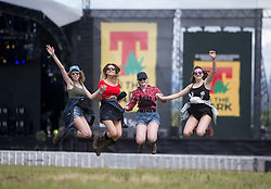 L-r Grace Finnigan, Vicky Clegg, Lucy Lodge and Rebecca Wardrobe. In the main site for the opening of T in the Park 2016,Friday 8/9/2016.