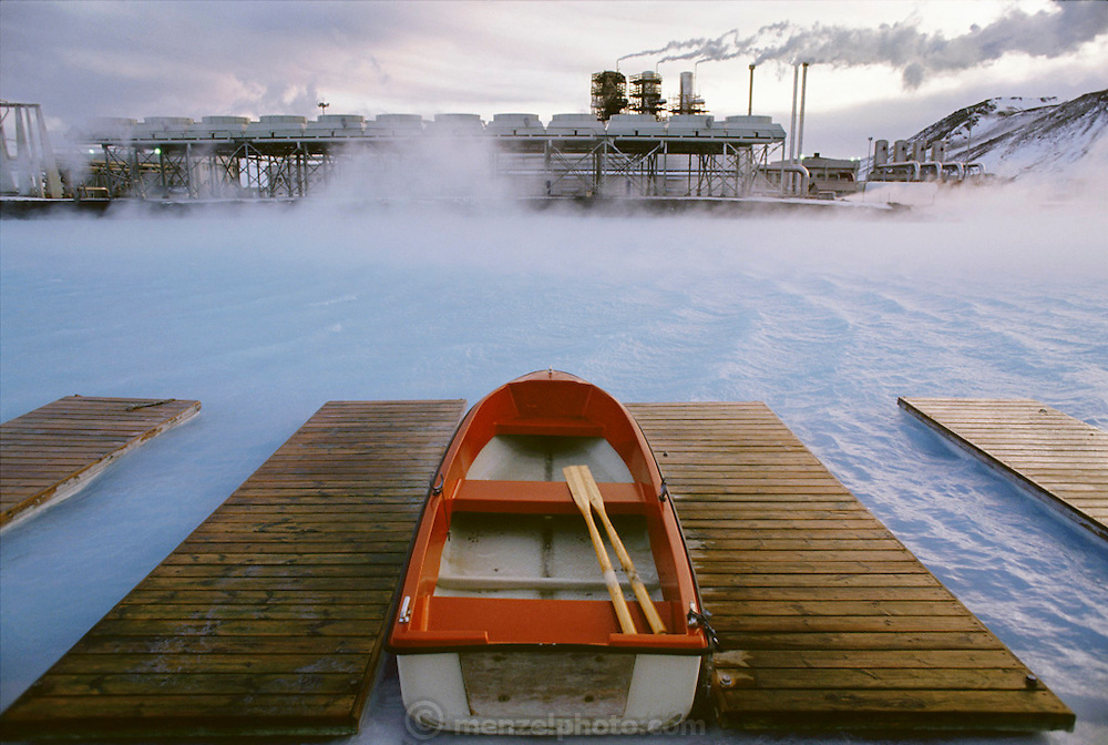The Blue Lagoon, a surreal-looking spa created near the Svartsengi power plant, outside Iceland's capital city of Reykjavik, Iceland. Pumping 470 F (243 C) water from up to 1-1/4 miles beneath the earth, the plant generates electricity ? and a somewhat cooler runoff that is rich in the kind of silicates and salts loved by devotees of mineral baths. Bathing is permitted only in the 2.5-acre (1 ha.) patch of the lake in which the water temperature is cool enough. Material World Project.