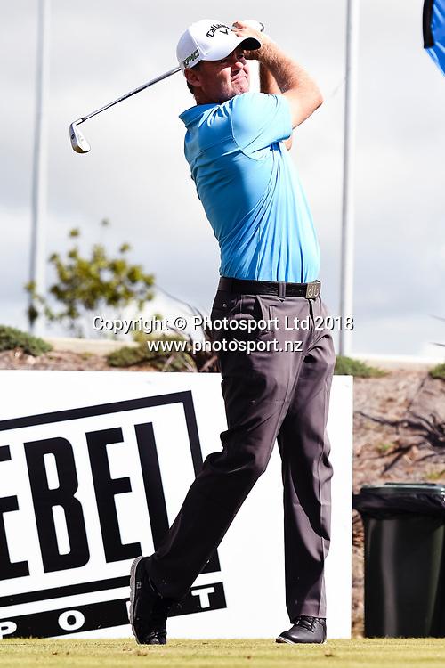 Mark Brown (NZL) tees off on the 1st hole.<br /> NZ Rebel Sports Masters, Wainui Golf Club, Wainui, Auckland, New Zealand. 14 January 2018. &copy; Copyright Image: Marc Shannon / www.photosport.nz.