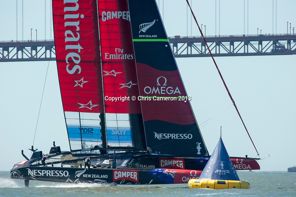 Emirates Team New Zealand have port entry for race 16 on day 13 of America's Cup 34. 23/9/2013