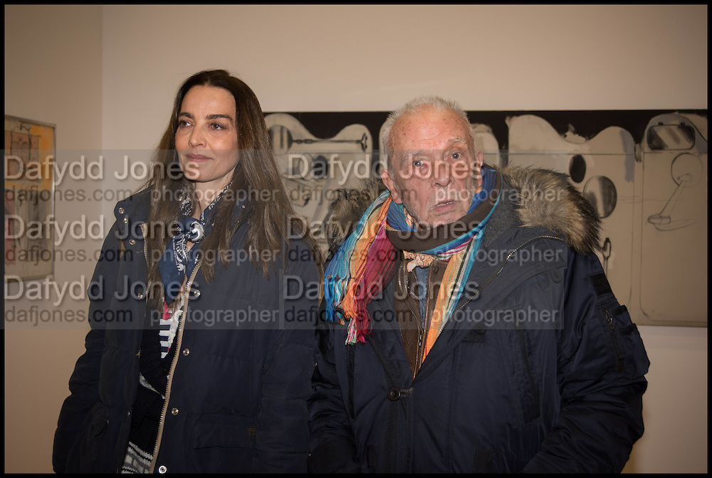 CATHERINE AND DAVID BAILEY at the Private view for A Strong Sweet Smell of Incense<br /> A Portrait of Robert Fraser, Curated by Brian Clarke. Pace Gallery. 6 Burlington Gardens. London. 5 February 2015.