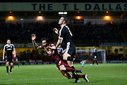 Bradford City midfielder Josh Morris  thinks he is pushed in the penalty area during the Sky Bet League 1 match between Bradford City and Barnsley at the Coral Windows Stadium, Bradford, England on 26 January 2016. Photo by Simon Davies.