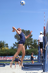 April 7, 2018 - Tucson, AZ, U.S. - TUCSON, AZ - APRIL 07: California Golden Bears Jessica Gaffney (42) hits the ball during a college beach volleyball match between the California Golden Bears and the Arizona Wildcats on April 07, 2018, at Bear Down Beach in Tucson, AZ. Arizona defeated California 3-2. (Photo by Jacob Snow/Icon Sportswire (Credit Image: © Jacob Snow/Icon SMI via ZUMA Press)
